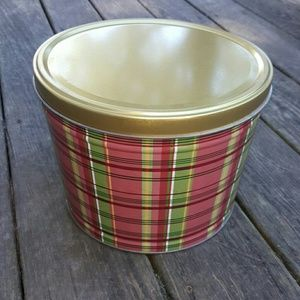 Plaid Tin with Gold Lid